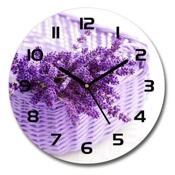 Zegar szklany okrągły Lawenda w koszu