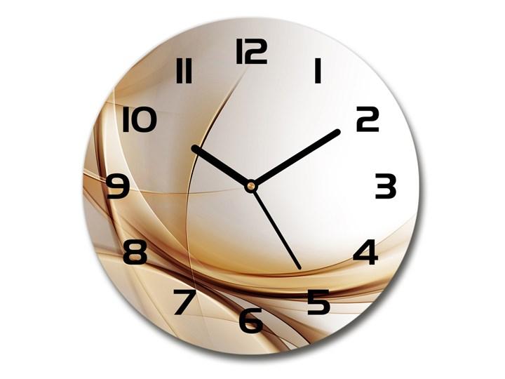 Zegar szklany na ścianę Abstrakcja fale Kategoria Zegary Zegar ścienny Szkło Okrągły Tworzywo sztuczne Kolor Beżowy
