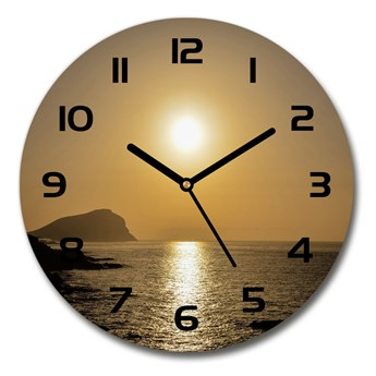 Zegar szklany na ścianę Zachód słońca morze