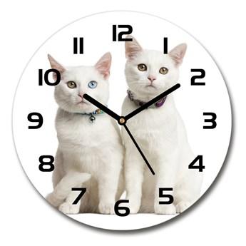 Zegar szklany okrągły Białe koty