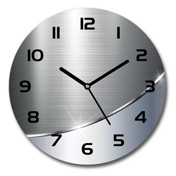 Zegar szklany okrągły Metalowa abstrakcja