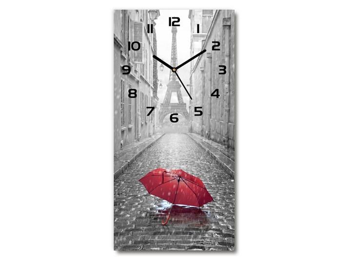Zegar ścienny cichy Parasol Francja Budzik Zegar stołowy Szkło Prostokątny Kolor Szary