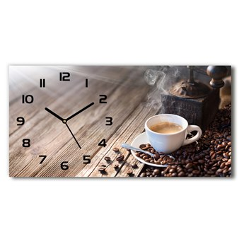 Zegar ścienny szklany cichy Poranna kawa