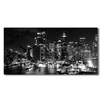 Nowoczesny zegar ścienny szklany Sydney nocą