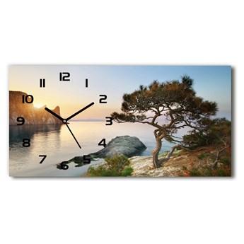 Zegar ścienny szklany Drzewo nad morzem