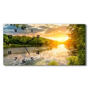 Zegar ścienny szklany Zmierzch nad rzeką