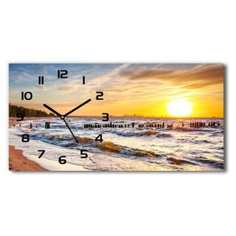 Zegar ścienny szklany Zachód słońca plaża