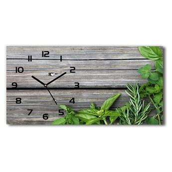 Zegar ścienny szklany Drewniane tło zioła