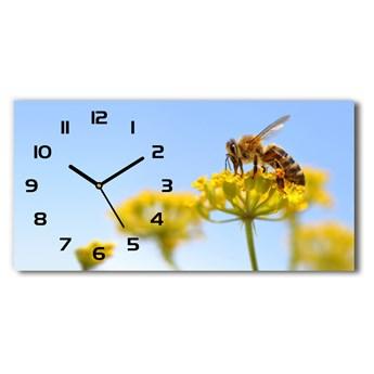 Zegar ścienny szklany Pszczoła na kwiatku
