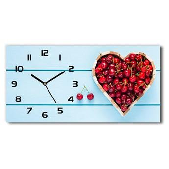 Zegar ścienny szklany cichy Serce z wiśni