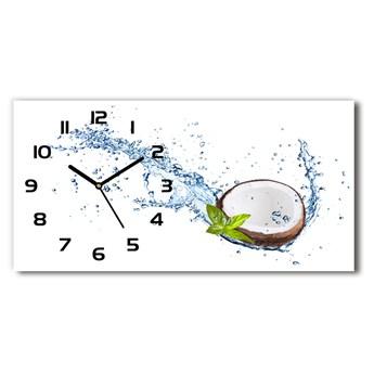Zegar ścienny szklany cichy Kokos i woda