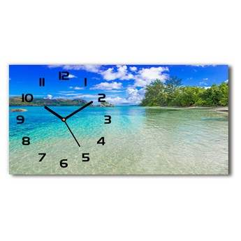 Zegar ścienny szklany cichy Plaża Seszele