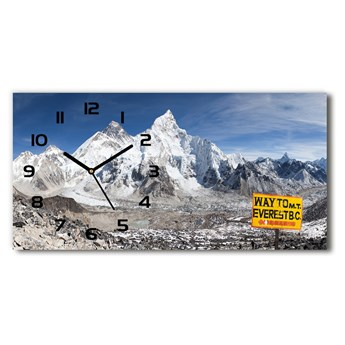 Zegar ścienny szklany cichy Góra Everest