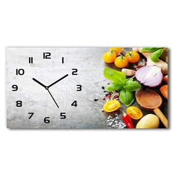 Nowoczesny zegar ścienny szklany Warzywa