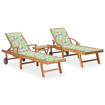 vidaXL Leżaki ze stolikiem i poduszkami, 2 szt., lite drewno tekowe