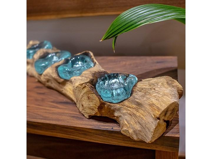 Drewniany świecznik Lilin, My love Bali Szkło Kategoria Świeczniki i świece Drewno Kolor Brązowy