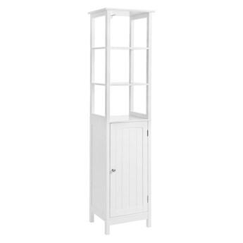 Biała szafka z 2 półkami i drzwiczkami Songmics, wys. 160 cm