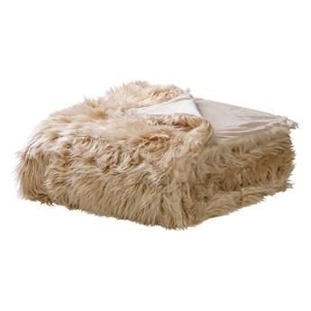 Narzuta na łóżko jasnobrązowa ze sztucznego futerka 200 x 220 cm włochacz