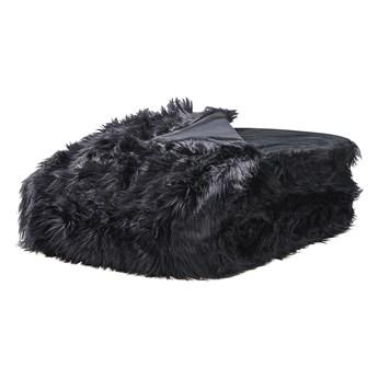 Narzuta na łóżko czarna ze sztucznego futerka 200 x 220 cm włochacz