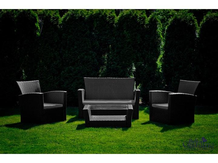 Meble ogrodowe z technorattanu UNICO Kolor Czarny Zestawy wypoczynkowe Zawartość zestawu Sofa