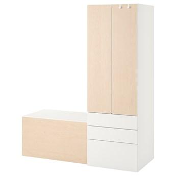 IKEA SMÅSTAD / PLATSA Regał, Biały brzoza/z ławką, 150x57x181 cm