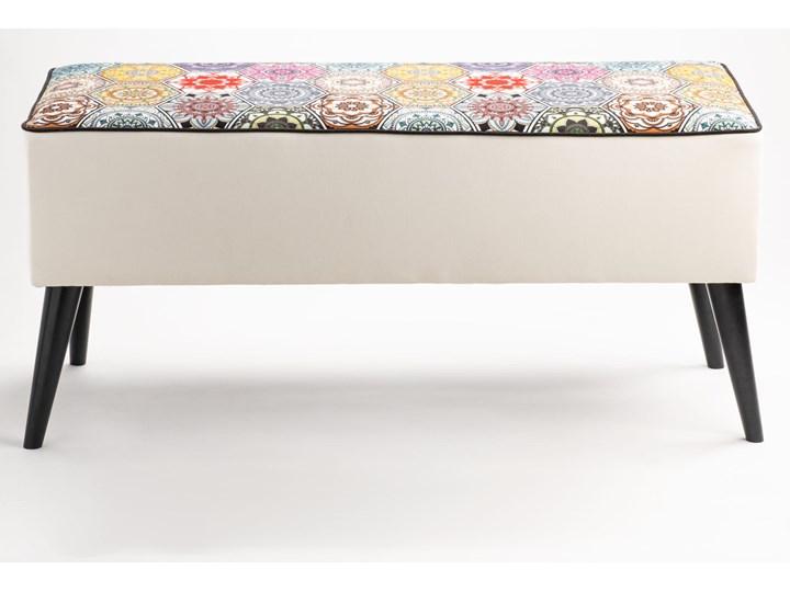 Ławka tapicerowana do przedpokoju Retro Hexagons Materiał obicia Skóra ekologiczna Materiał nóżek Metal