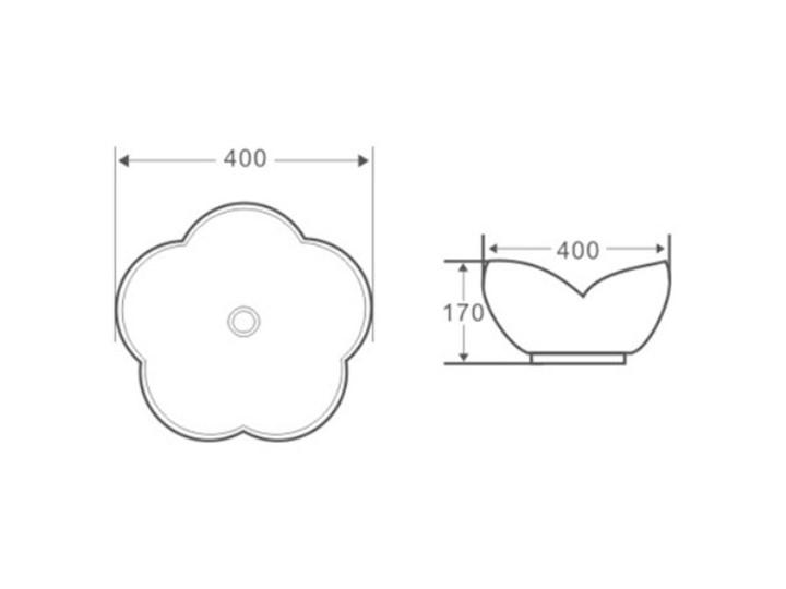 VELDMAN UMYWALKA CERAMICZNA ROSE Szerokość 40 cm Nablatowe Ceramika Meblowe Kategoria Umywalki Asymetryczne Kolor Biały