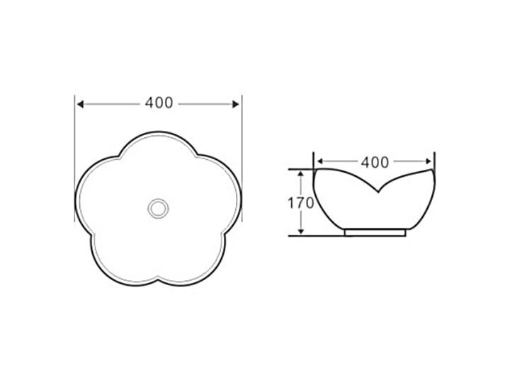 VELDMAN UMYWALKA CERAMICZNA ROSE Szerokość 40 cm Nablatowe Kategoria Umywalki Ceramika Asymetryczne Meblowe Kolor Biały