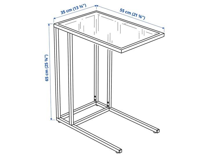 IKEA VITTSJÖ Stolik pod laptopa, Czarnobrąz/szkło, 35x65 cm Kolor Czarny Metal Stal Tworzywo sztuczne Kategoria Szafki i regały
