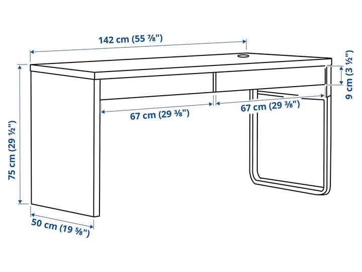 IKEA MICKE Biurko, Biały, 142x50 cm Płyta MDF Szerokość 142 cm Biurko tradycyjne Stal Pomieszczenie Pokój nastolatka