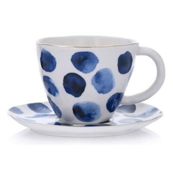 Filiżanka ze spodkiem w kropki DUKA RIVIERA 250 ml niebieska porcelana