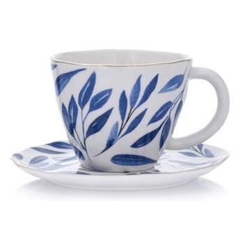 Filiżanka ze spodkiem w liście DUKA RIVIERA 250 ml niebieska porcelana