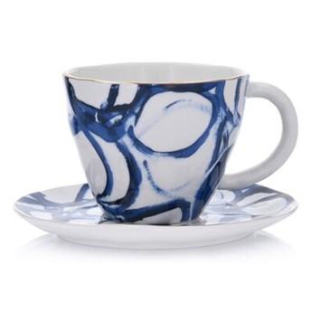 Filiżanka ze spodkiem w koła DUKA RIVIERA 250 ml niebieska porcelana