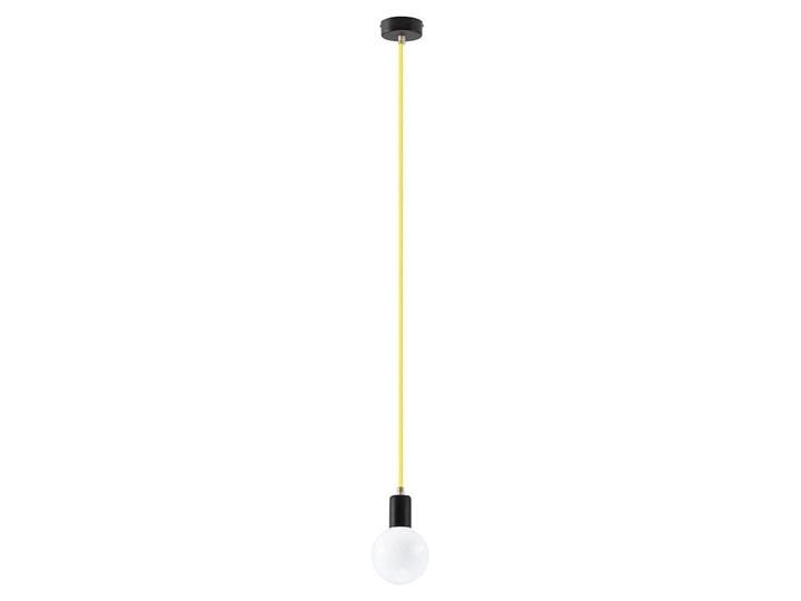 Lampa Wisząca EDISON Żółta Tkanina Metal Kolor Żółty Stal Kategoria Lampy wiszące