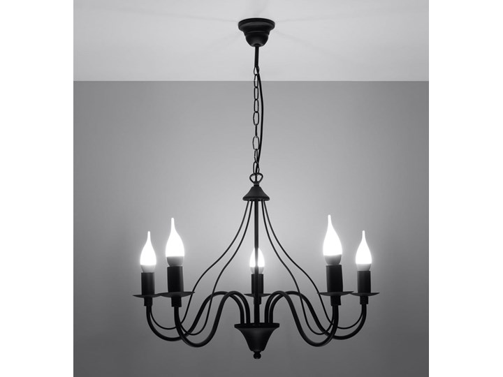 Żyrandol MINERWA 5 Czarny Stal Metal Kategoria Lampy wiszące
