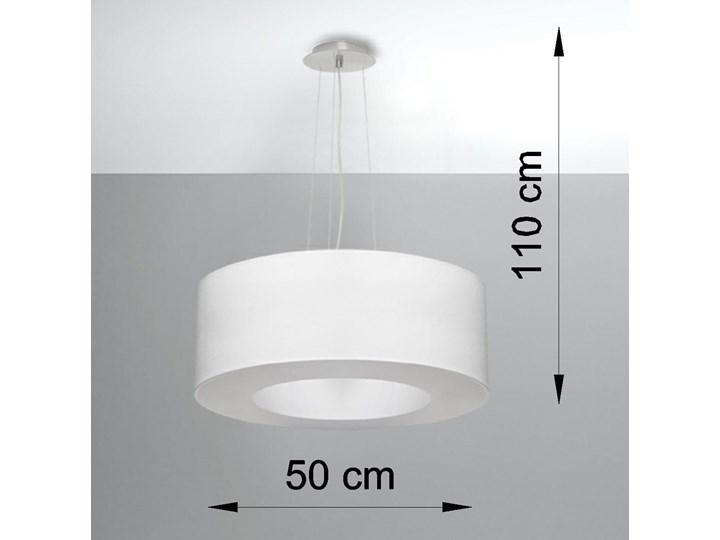 Żyrandol SATURNO 50 biały Metal Lampa z kloszem Stal Tkanina Funkcje Brak dodatkowych funkcji
