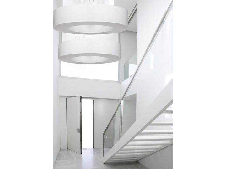 Żyrandol SATURNO 50 biały Metal Lampa z kloszem Tkanina Stal Funkcje Brak dodatkowych funkcji Kategoria Lampy wiszące