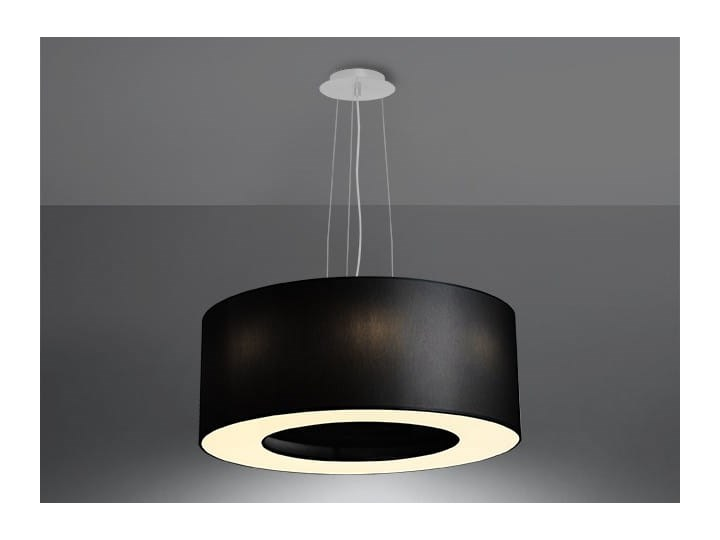 Żyrandol SATURNO 50 czarny Stal Tkanina Metal Lampa z kloszem Kategoria Lampy wiszące