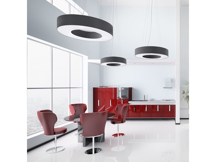 Żyrandol SATURNO 70 czarny Tkanina Lampa z kloszem Stal Metal Kategoria Lampy wiszące