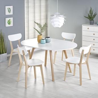Rozkładany okrągły stół 102x102 z drewnianymi nogami RUBEN biały Halmar