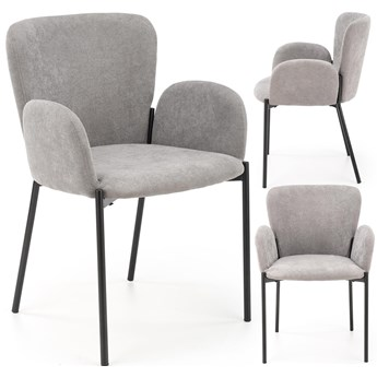 Nowoczesne krzesło z podłokietnikami do kuchni salonu tapicerowane loftowe industrialne K445 popielate szare Halmar