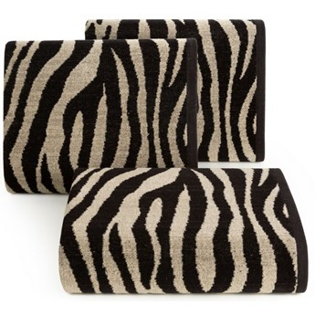 Ręcznik bawełniany czarno-beżowy R149-04