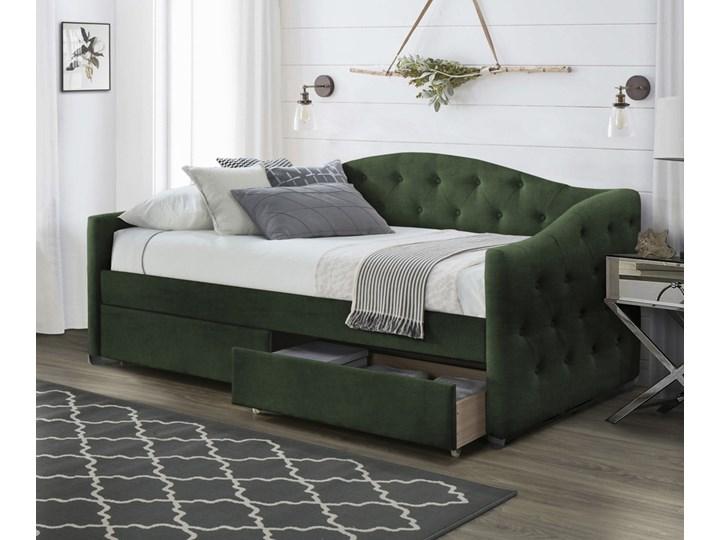 SELSEY Łóżko tapicerowane Navarno z szufladami 90x200 cm ciemnozielone Tkanina Kolor Zielony Drewno Styl Klasyczny