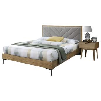 SELSEY Łóżko drewniane z tapicerowanym zagłówkiem Zaneya 160x200 cm