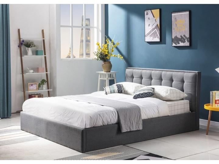 SELSEY Łóżko tapicerowane z pojemnikiem Harinn 90x200 cm popielate Styl Nowoczesny Tkanina Kategoria Łóżka do sypialni