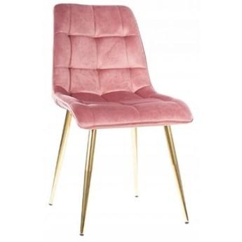 Krzesło Tapicerowane CHIC GOLD Róż Welur Salon