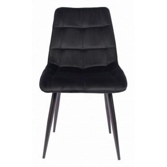 Krzesło Tapicerowane CHIC Czarne Welur do Salonu