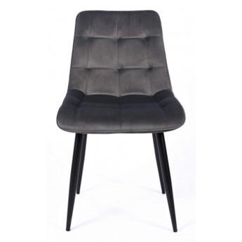 Krzesło Tapicerowane CHIC Szare Welur do Salonu