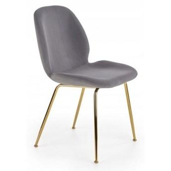 Krzesło Tapicerowane K381 Welur Szare do Salonu