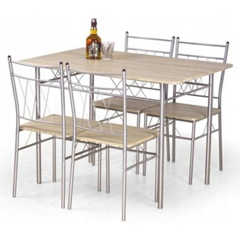 Stół FAUST  + 4 krzesła dąb sonoma / metal HALMAR